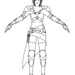 Female Warrior Assassin Front View Coloring Page