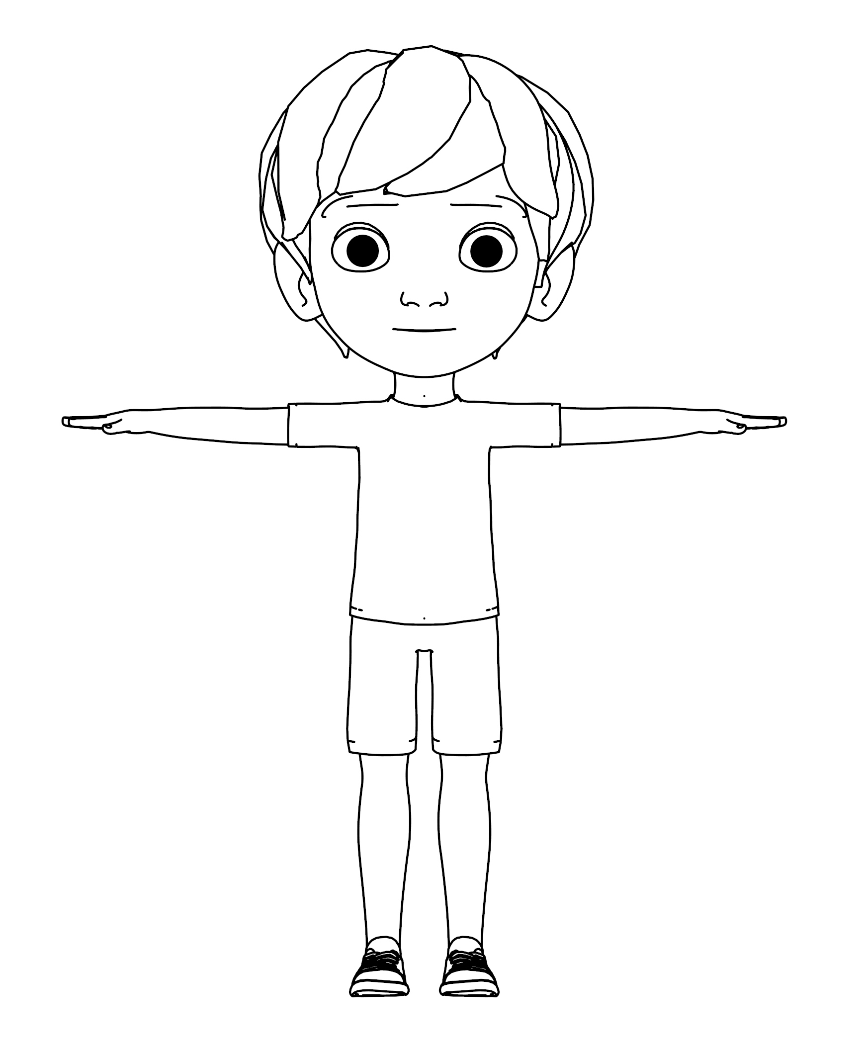 Front Smile Boy Coloring Page